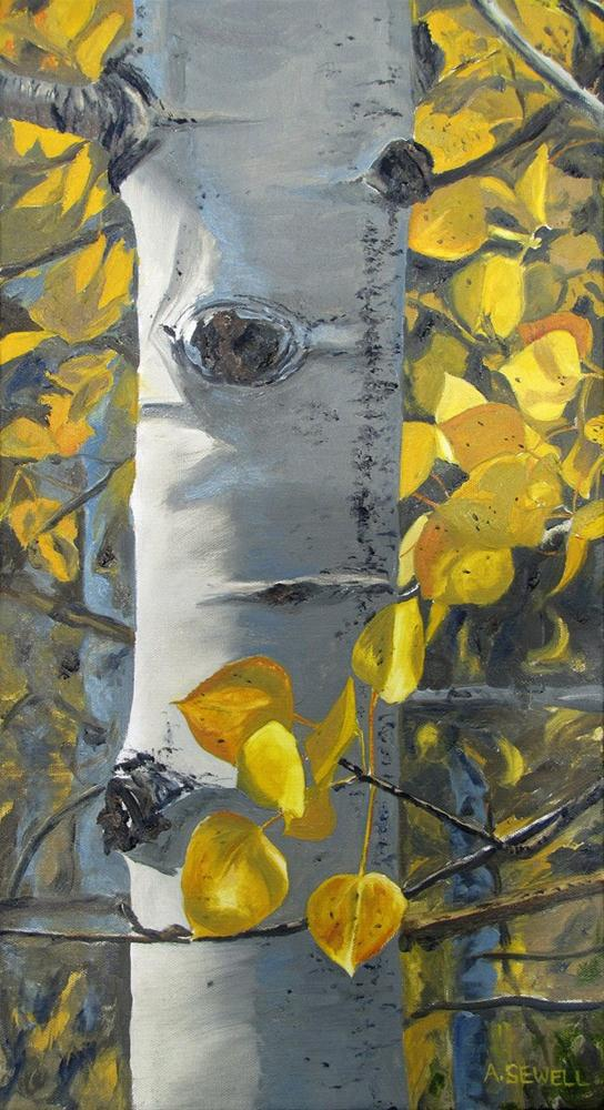 """""""Aspen Light - 12x22"""" original fine art by Andy Sewell"""