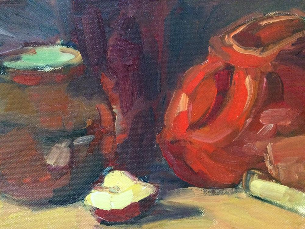 """""""Apple and red objects"""" original fine art by Naomi Bautista"""