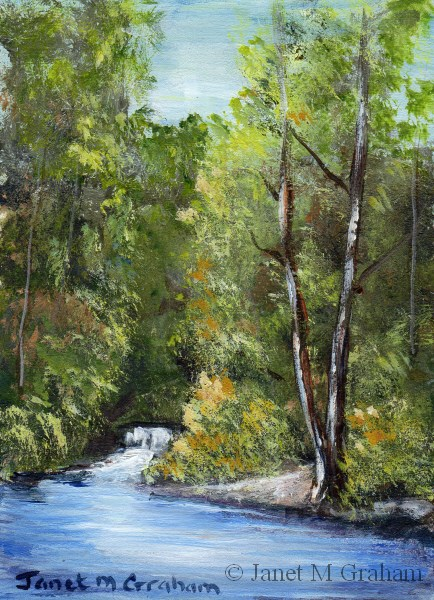 """""""Waterfall ACEO"""" original fine art by Janet Graham"""