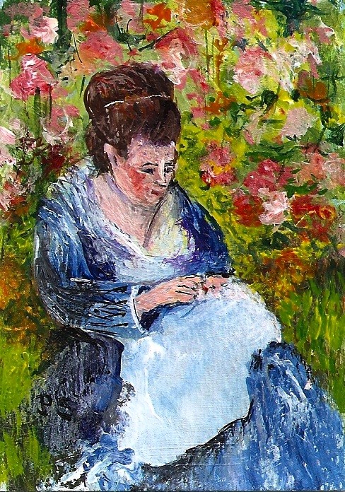 """""""ACEO Camille in a Garden In the Style of Monet Acrylic Painting Penny Stewart"""" original fine art by Penny Lee StewArt"""