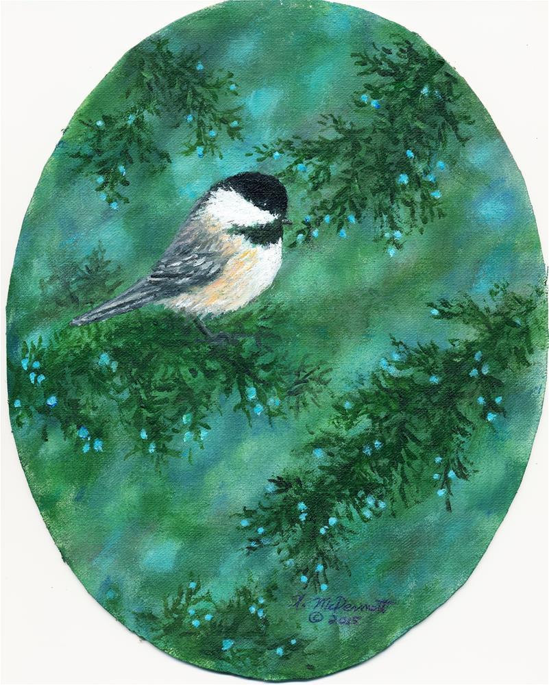 """""""Cear Chickadee Bird # 1"""" original fine art by Kathleen McDermott"""
