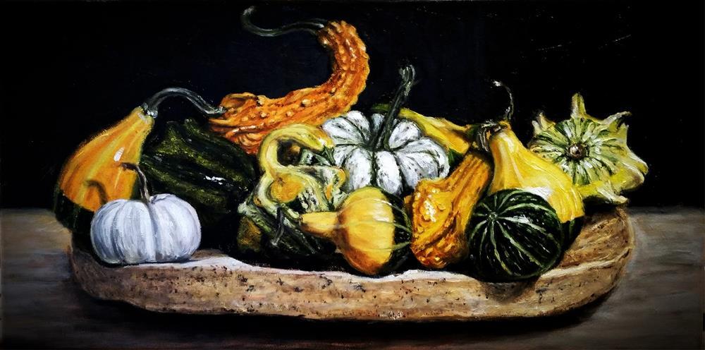 """Ornamental Gourds on Cork Oak Bark Dish"" original fine art by Peter J Sandford"