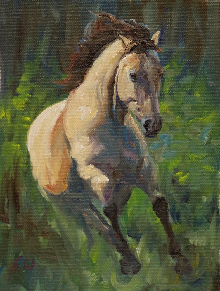 """""""Buckskin in Flight"""" original fine art by H.F. Wallen"""