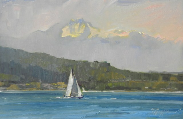 """Sailing off Alki Point  marine landscape, oil painting by Robin Weiss"" original fine art by Robin Weiss"