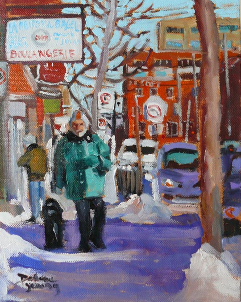 """""""824 Montreal Winter Scene, St-Viateur Bagel, 8x10, oil on board"""" original fine art by Darlene Young"""