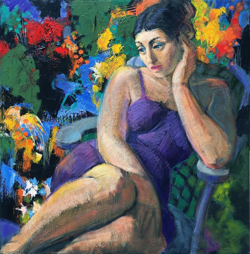 """""""In Her Garden, figurative woman seated among flowers, thoughtful girl, abstract figurative, female f"""" original fine art by Marie Fox"""