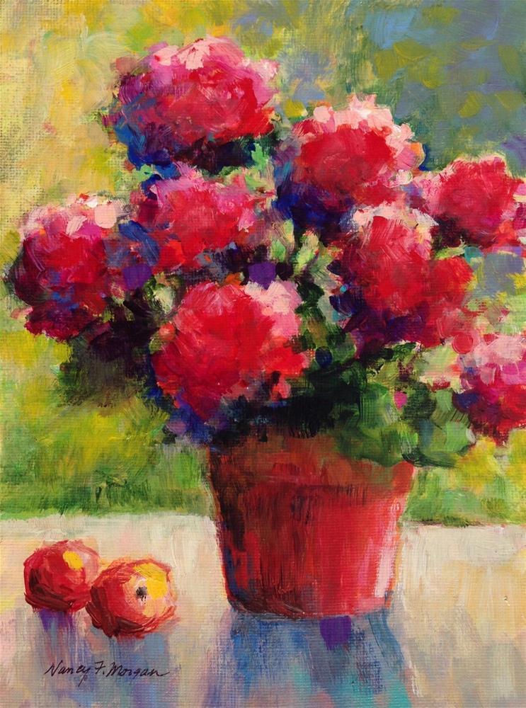 """Red Hydrangeas"" original fine art by Nancy F. Morgan"