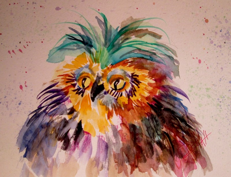 """Fluffy Bird"" original fine art by Delilah Smith"