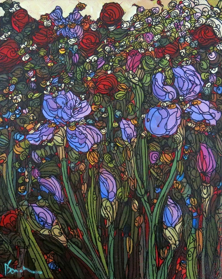 """""""92 IN WITH THE ROSES"""" original fine art by Dee Sanchez"""