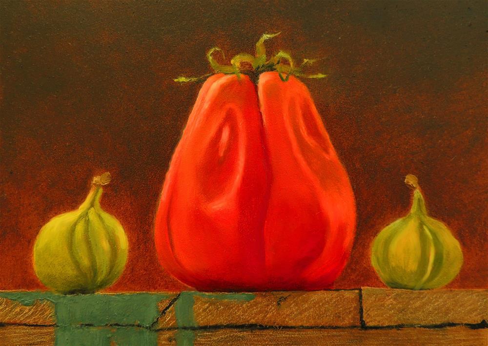 """Heirloom Tomato with Tiger Figs"" original fine art by Sharon Egan"