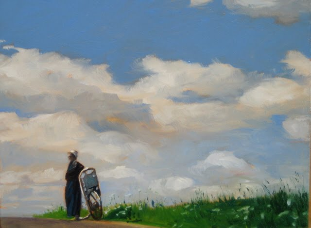 """""""Thankful Rest  Amish girl with bike , oil landscape daily painting"""" original fine art by Robin Weiss"""
