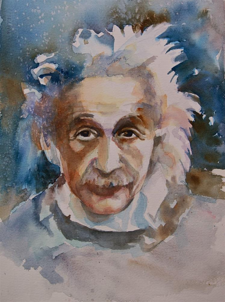 """""""Einstein in Blue"""" original fine art by Reveille Kennedy"""