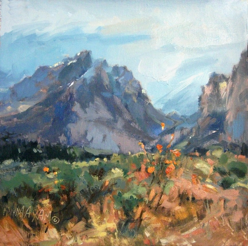 """Teton Mountains, A Second View.... Revised"" original fine art by Mary Maxam"