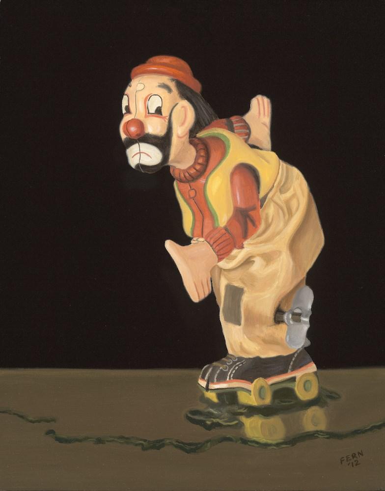 """Skating Clown"" original fine art by Susan Fern"