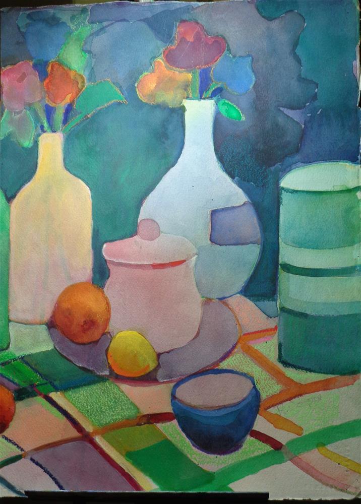 """""""bottles and frurit 2"""" original fine art by meribeth coyne"""