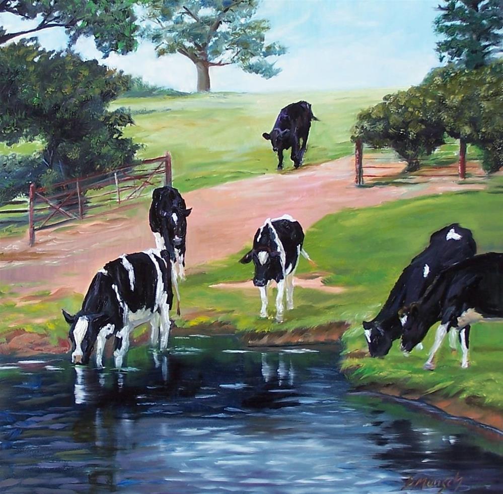 """""""Thirsty Cattle"""" original fine art by Donna Munsch"""