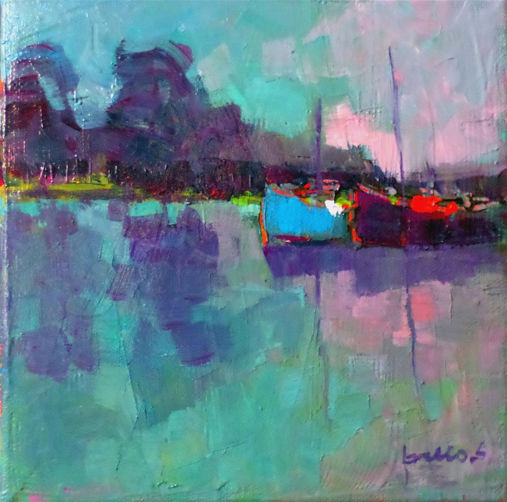 """Boat on the pond"" original fine art by salvatore greco"
