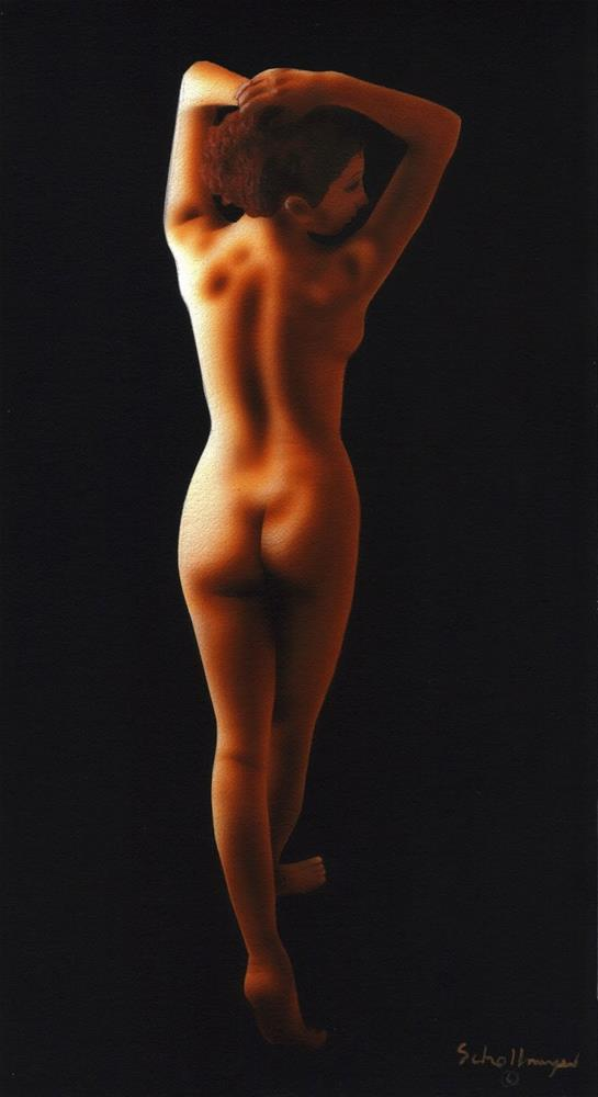 """Nude Study in Darkness"" original fine art by Fred Schollmeyer"