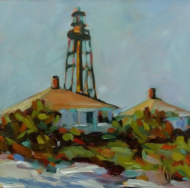 """""""Sanibel Lighthouse 6x6 oil on gesso board"""" original fine art by Mary Sheehan Winn"""