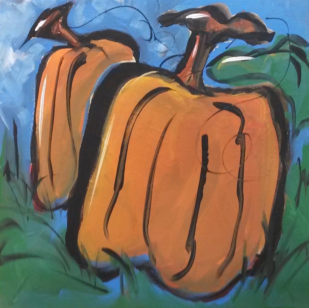 """""""Pumpkin Couple"""" original fine art by Terri Einer"""