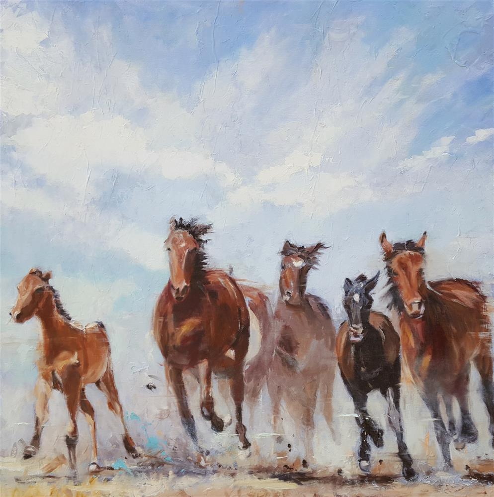 """""""Kicking Up the Dust"""" original fine art by Karen Weber"""