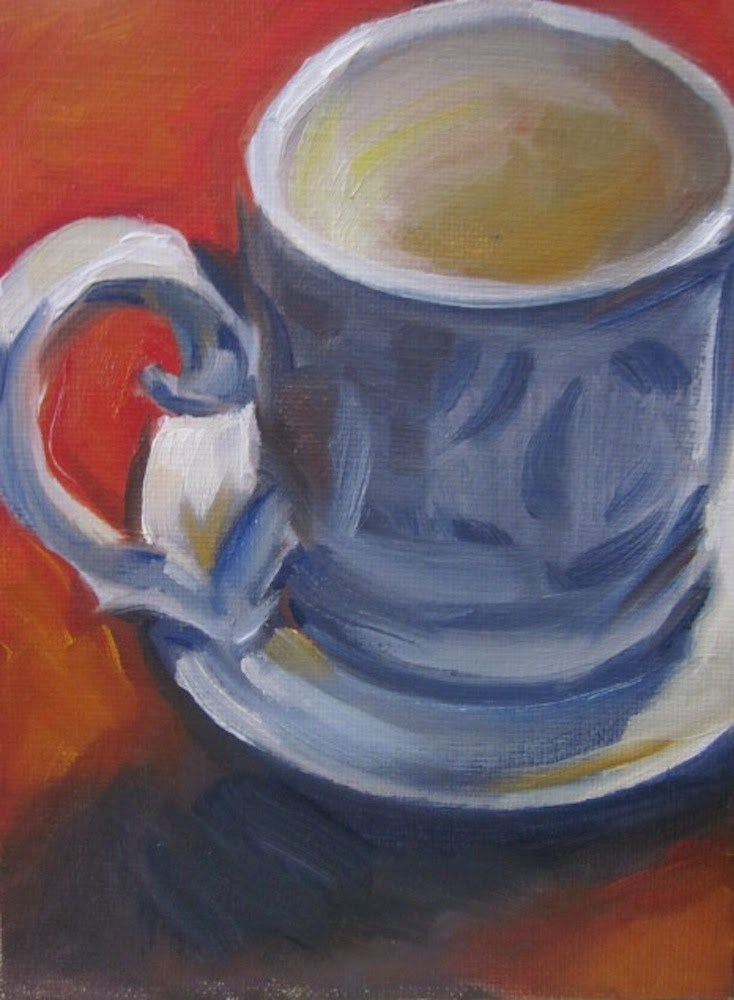 """White Mug"" original fine art by Janet Zabilski"