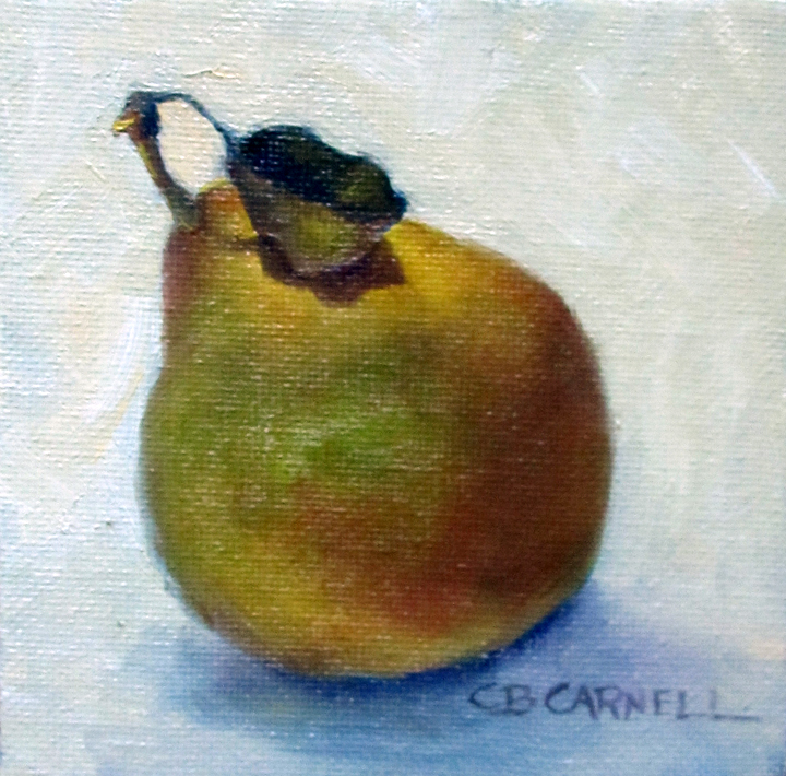 """""""SECKEL PEAR WITH LEAF by Claire Beadon Carnell 100 Paintings in 100 Days Challenge 'Inspirations from"""" original fine art by Claire Beadon Carnell"""