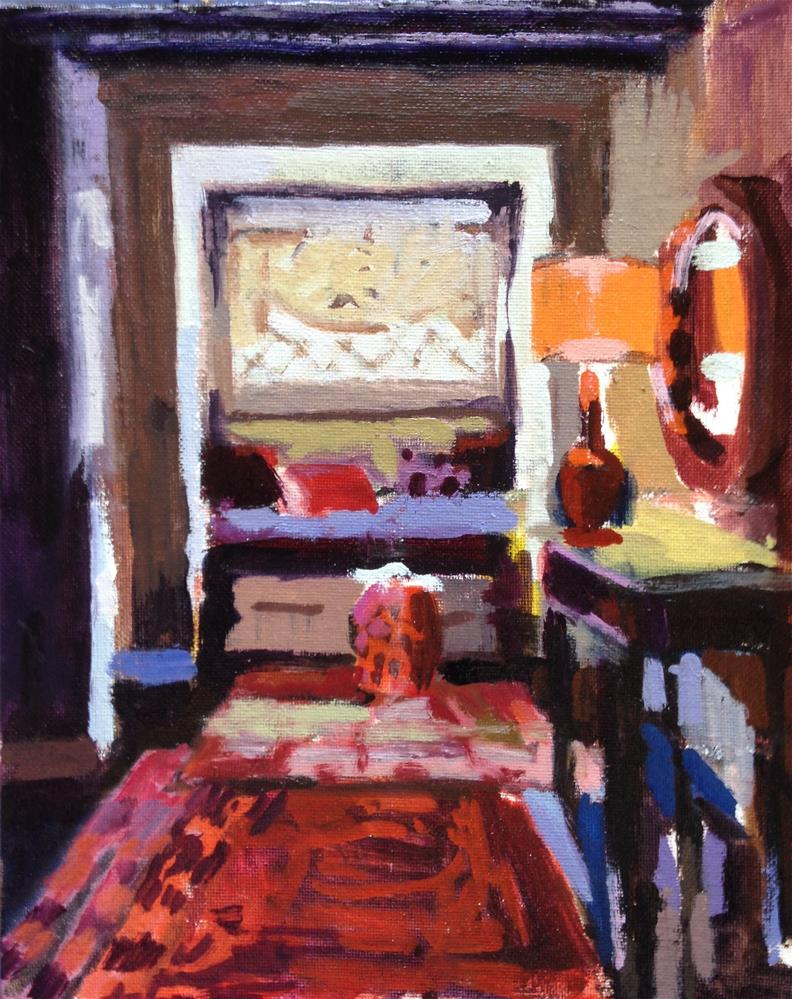 """Reading Nook With Red Stool"" original fine art by Pamela Hoffmeister"