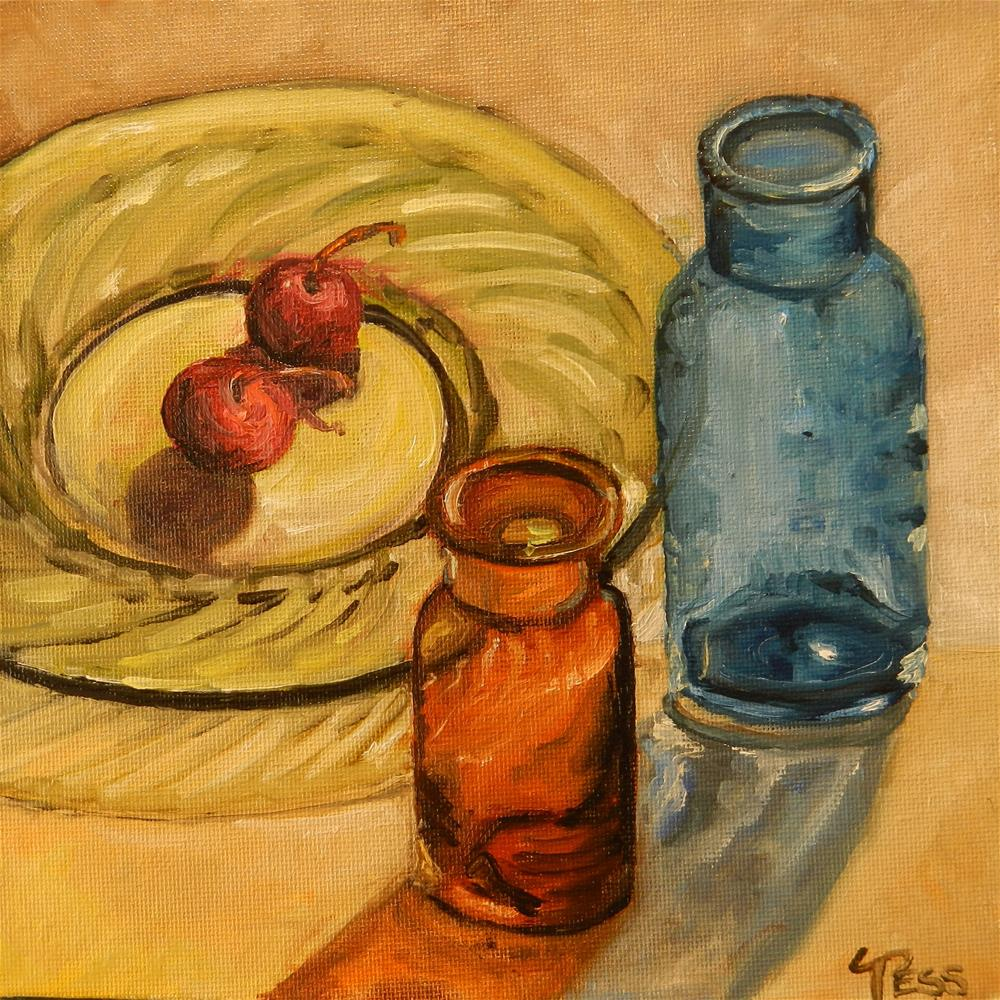 """""""Two Bottles and Two Cherries"""" original fine art by Tess Lehman"""
