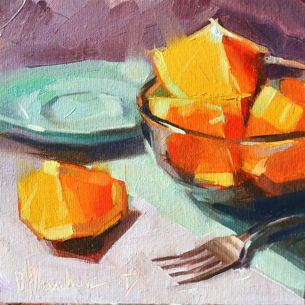 """Sliced orange"" original fine art by Oleksii Movchun"