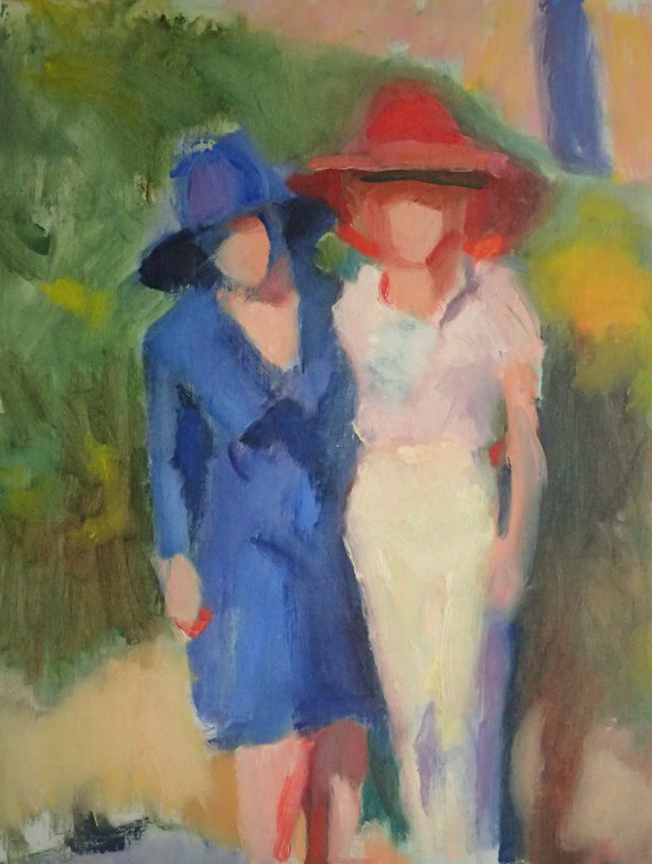 """Two Ladies on Vacation"" original fine art by Sharon Savitz"