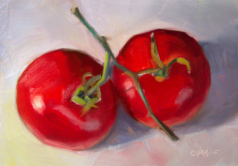 """June's Tomatoes"" original fine art by Cindy Haase"