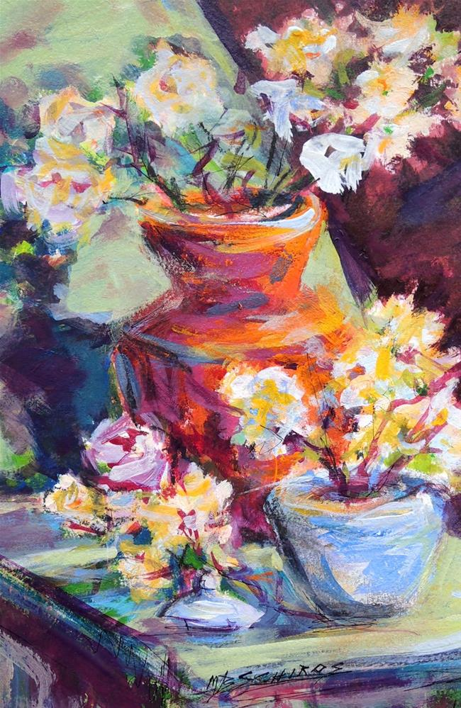 """Red Vase Blue Jar"" original fine art by Mary Schiros"