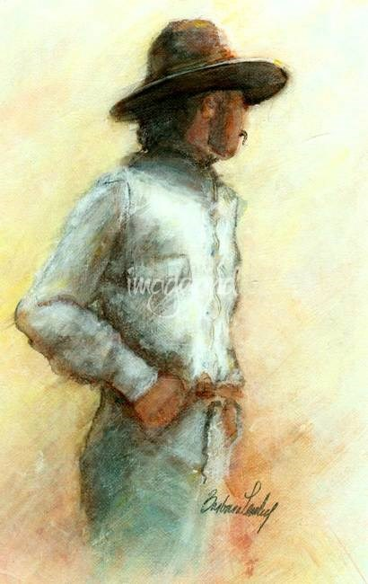 """""""Cowboy in thought"""" original fine art by Barbara Lemley"""