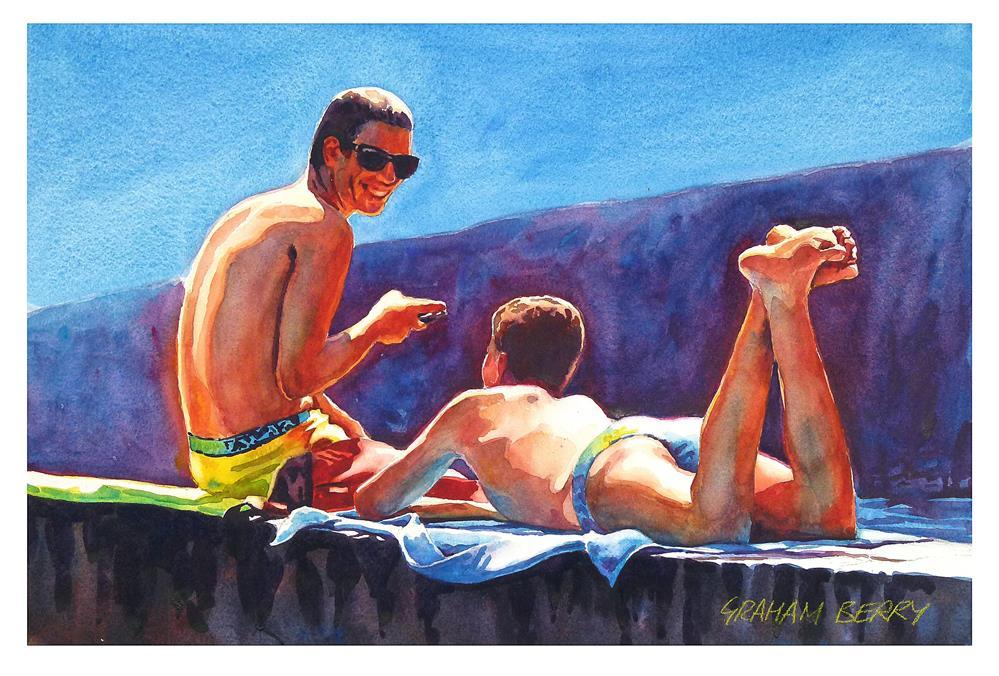 """Lads talk."" original fine art by Graham Berry"
