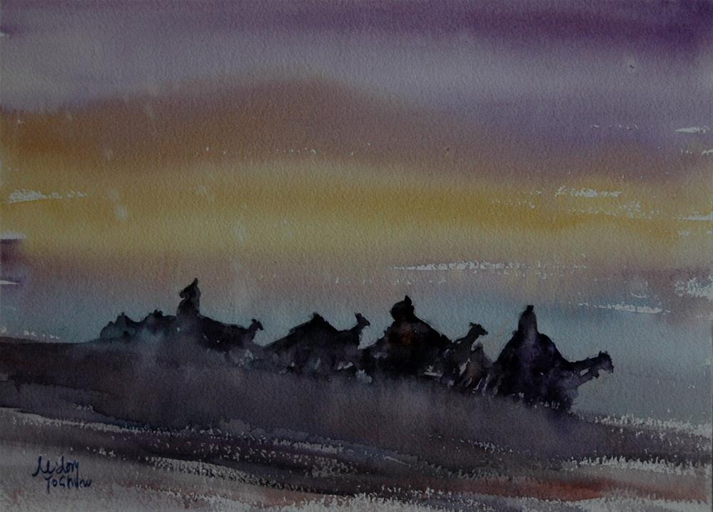 """From Al Ain Camel racetrack"" original fine art by Midori Yoshino"