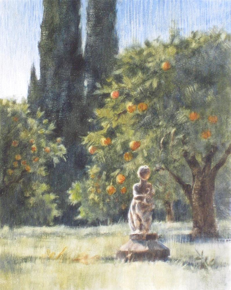 """Orange Grove with Statue"" original fine art by Ginger Pena"