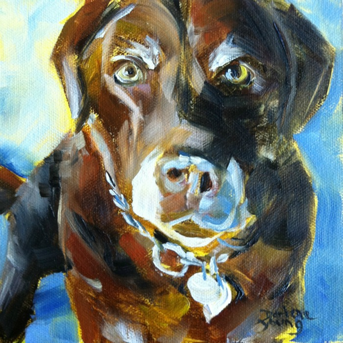 """""""The Best Dog in the World #2, oil on canvas board,6x6"""" original fine art by Darlene Young"""