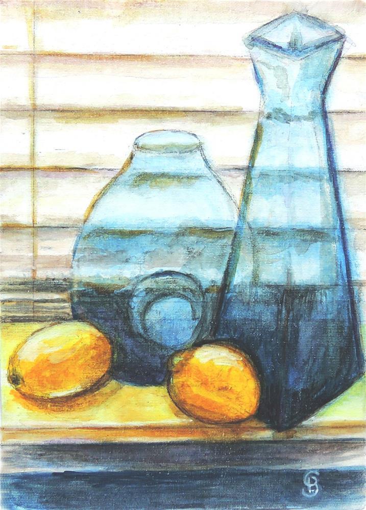 """Lemons with Cobalt Blueware"" original fine art by Belinda Scheber"