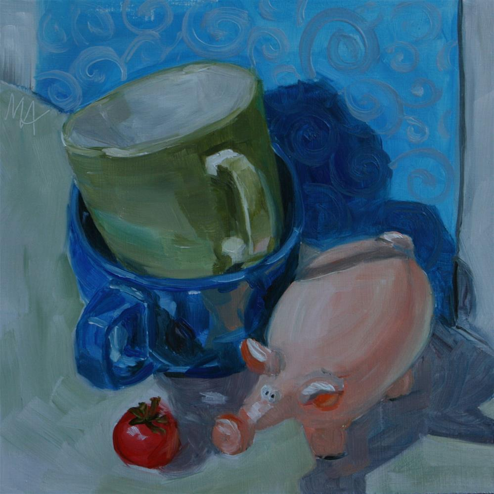 """""""Hey Tomato, You Do The Dishes!"""" original fine art by Aniko Makay"""