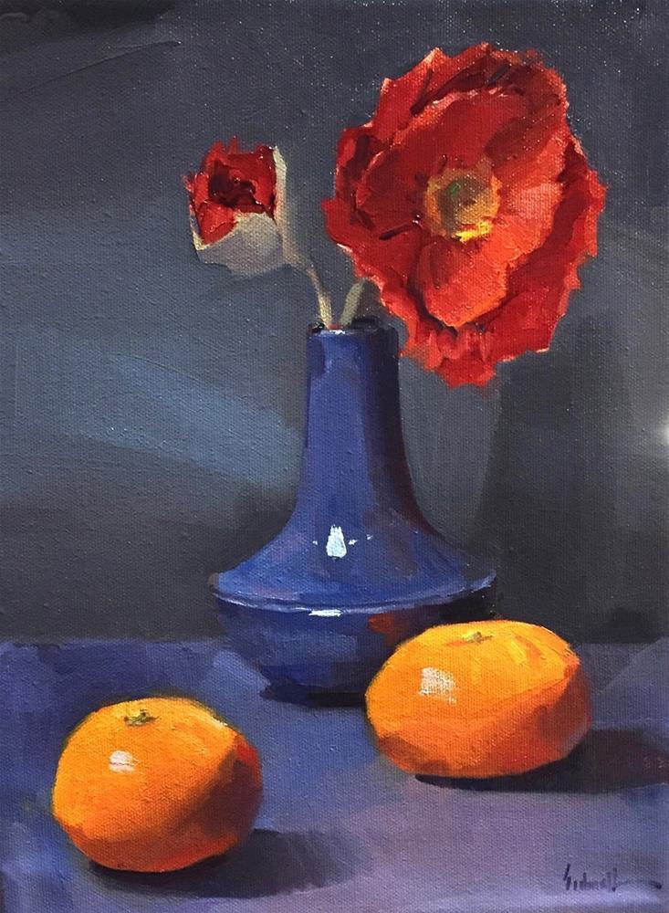 """Poppies in a Blue Vase"" original fine art by Sarah Sedwick"