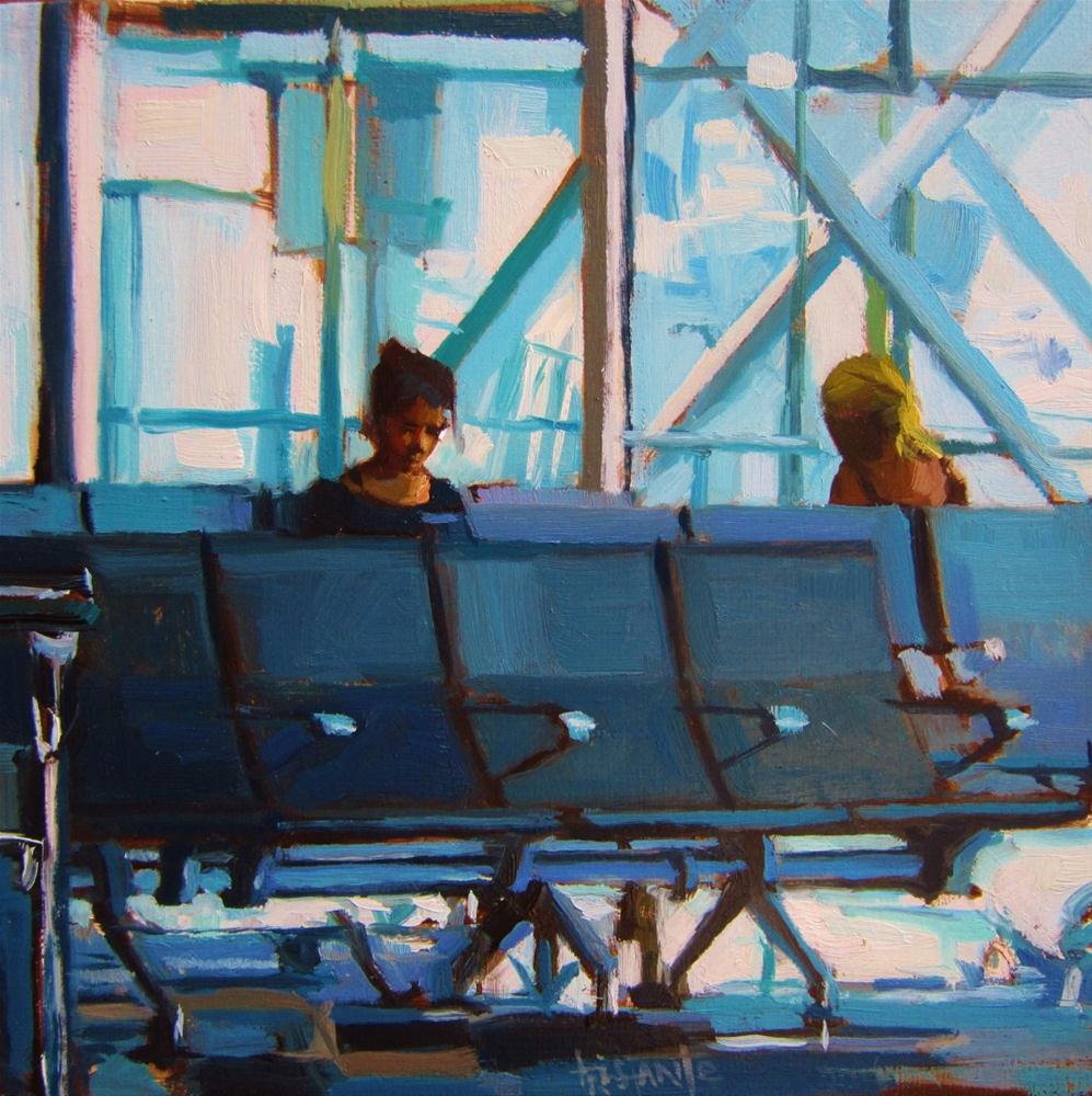 """""""Waiting in the airport"""" original fine art by Víctor Tristante"""