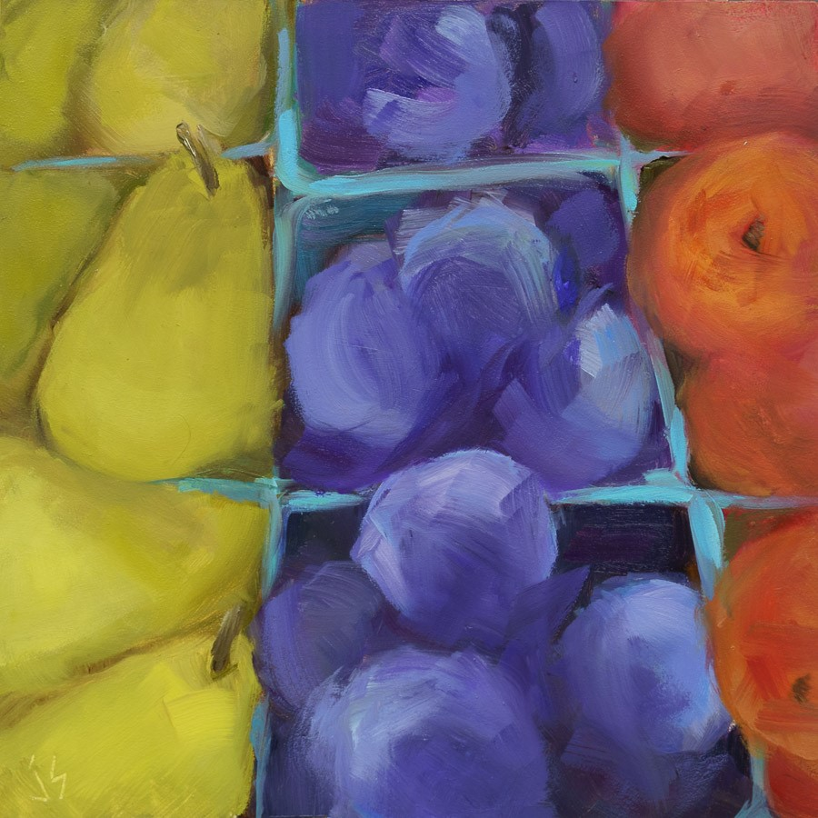 """Pears, Plums & Peaches"" original fine art by Johnna Schelling"