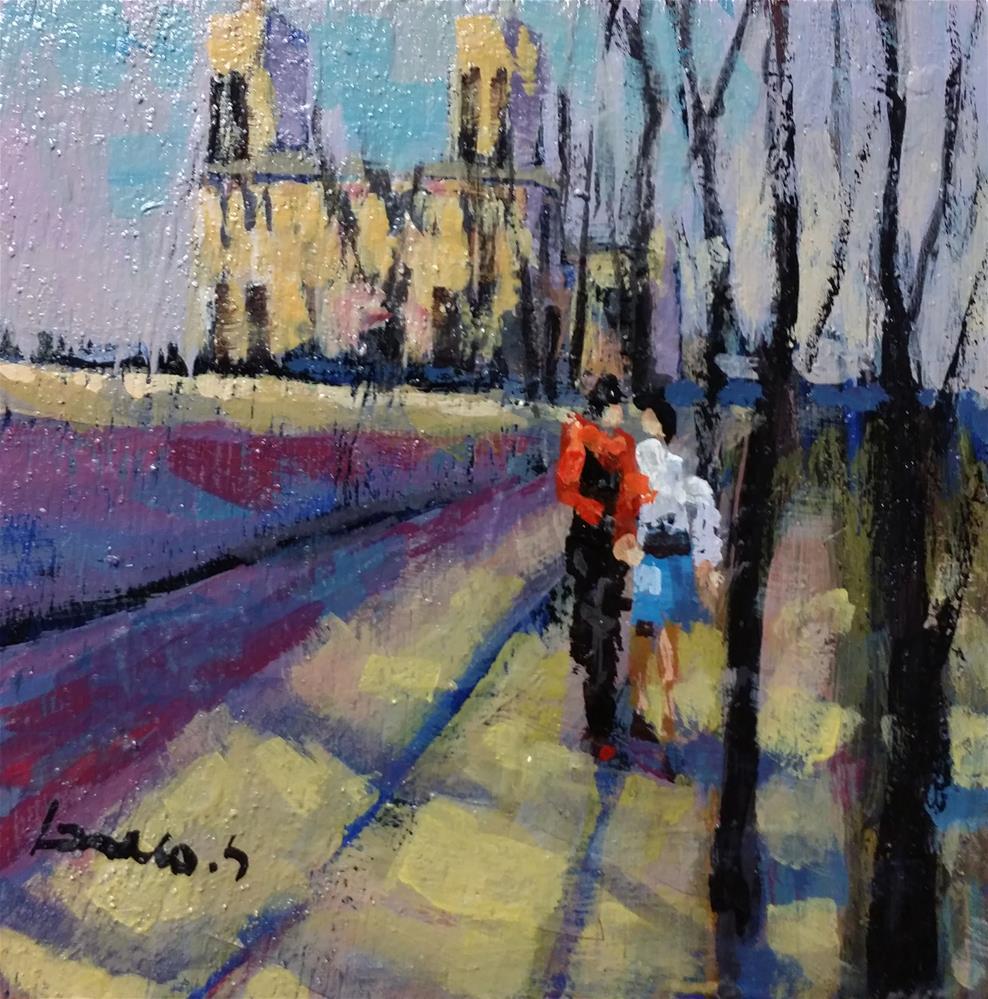 """Notre Dame de Paris"" original fine art by salvatore greco"