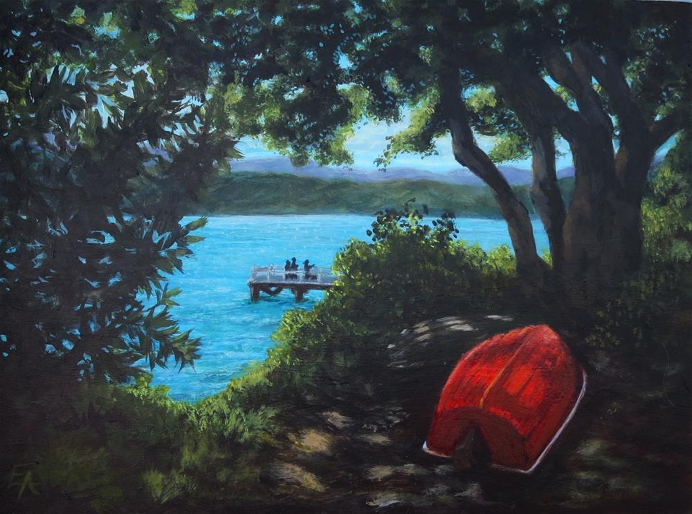 """Red Boat Resting"" original fine art by Elizabeth Elgin"