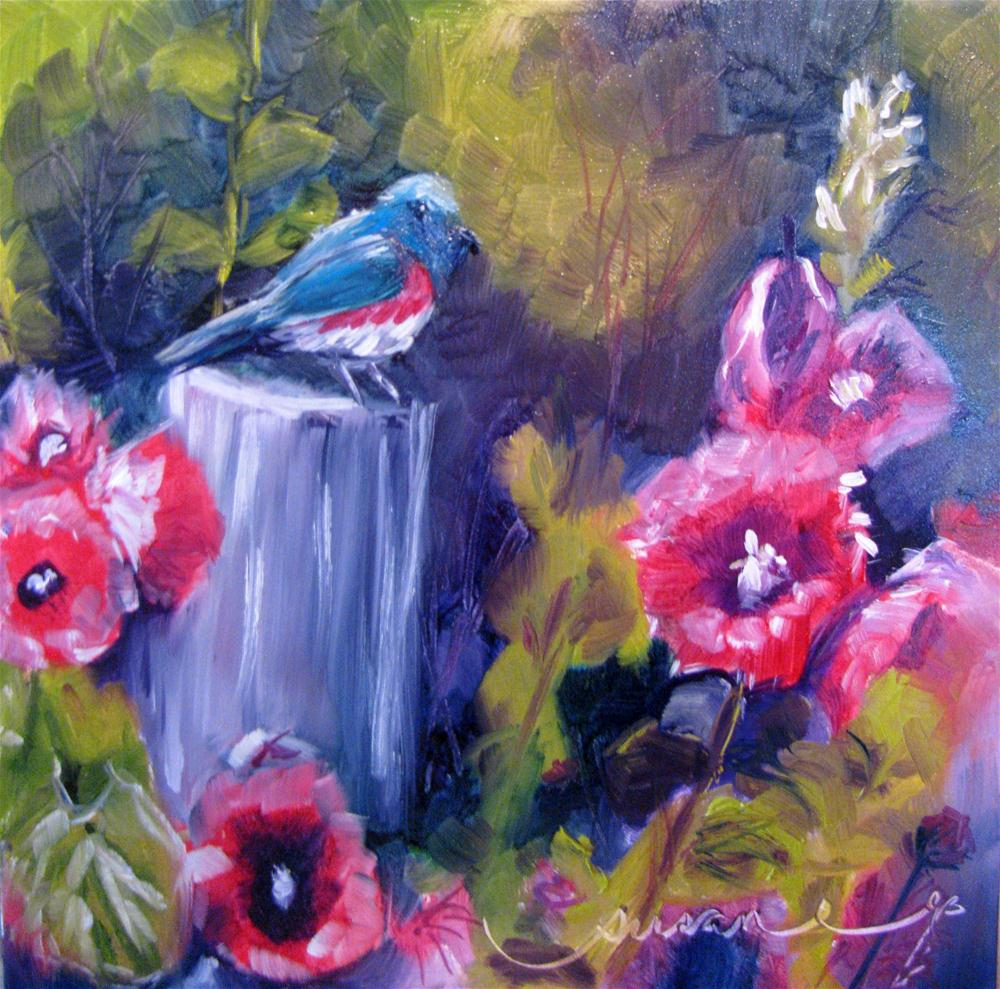 """Among the Hollyhocks"" original fine art by Susan Elizabeth Jones"