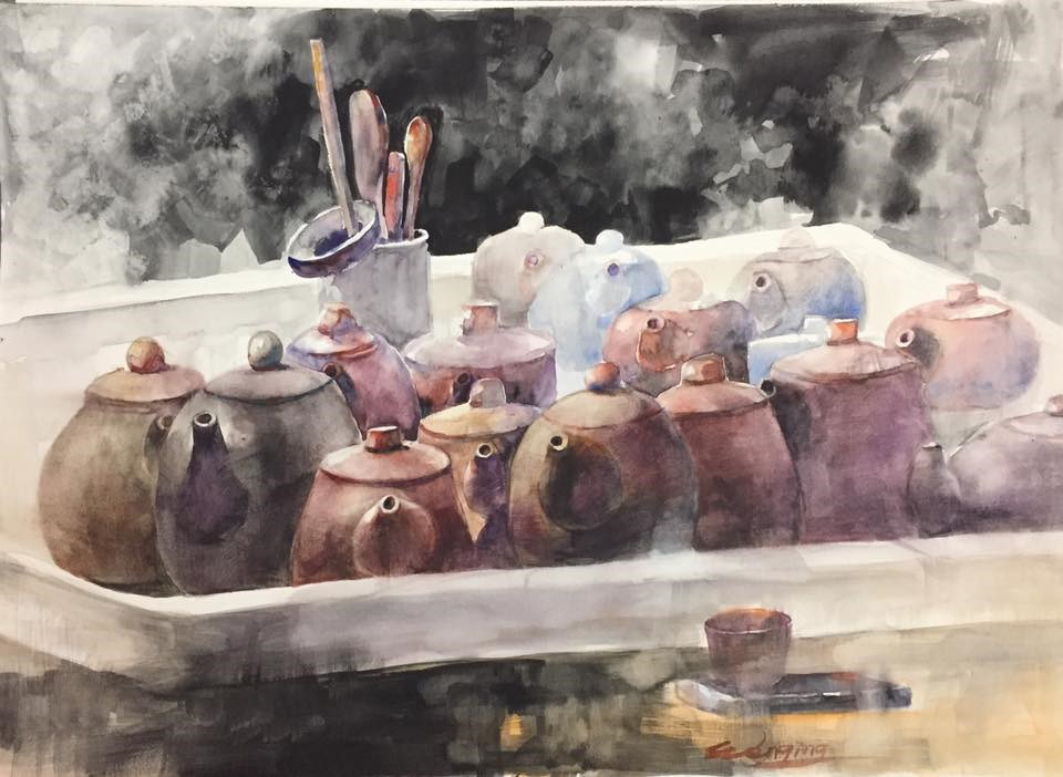 """tea pots"" original fine art by Wenqing Xu"