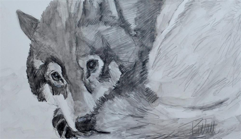 """Wolf"" original fine art by Pattie Wall"