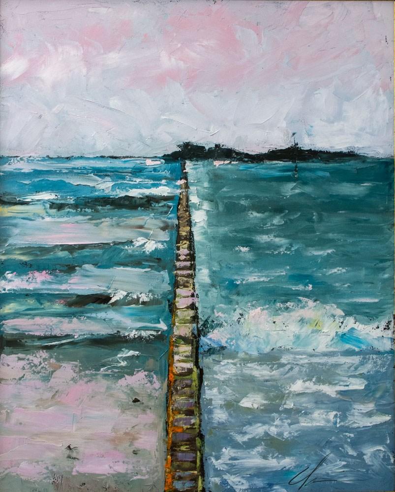 """""""Sea Wall Sunset"""" original fine art by Clair Hartmann"""