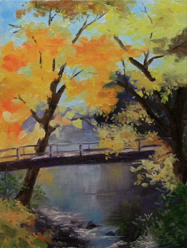 """""""Foot Bridge"""" original fine art by Jean Nelson"""